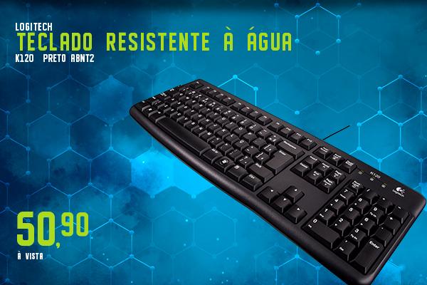 Teclado Logitech K120 Resistente à Água Preto ABNT2