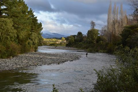 Trout anglers fishing the world famous Tongariro River at Turangi