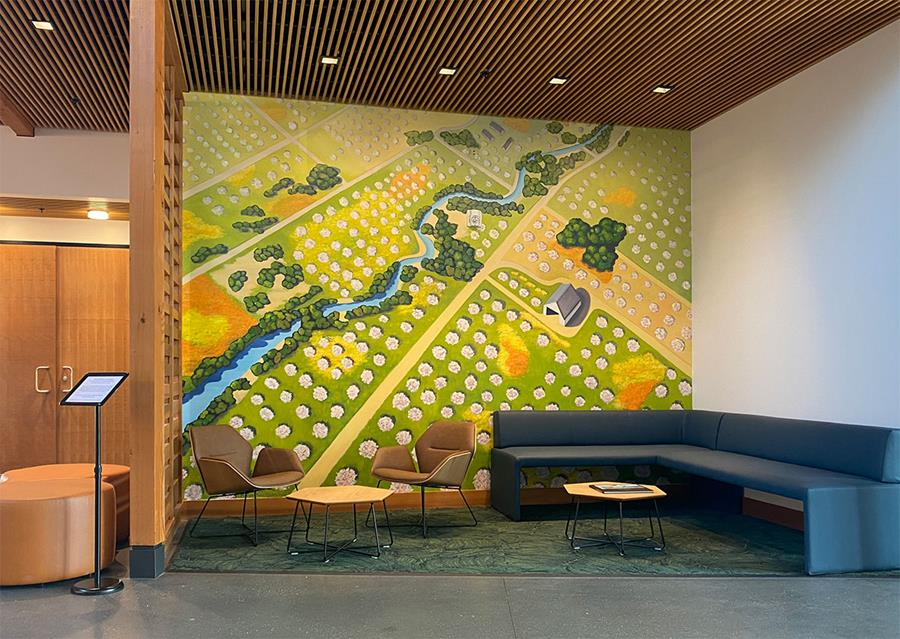 Orchard Landscape Mural at the Los Altos Community Center (Inspired by the Art of Linda Gass)